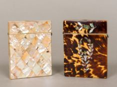 A Victorian tortoiseshell card case Of typical hinged form,