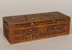 A late 19th century Canton carved wood box Of hinged rectangular form,