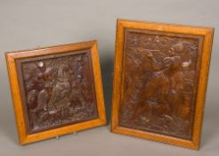 Two 19th century Arts & Crafts carved walnut panels Each depicting a hunting scene,