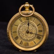 An 18 ct gold cased lady's pocket watch by Farringdon The signed dial with Roman numerals,