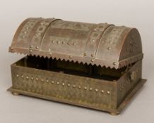 An unusual 19th century patinated bronze casket Of hinged domed form,
