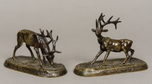 A pair of 19th century bronze models of stags One modelled grazing, the other startled,