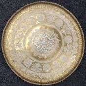 A large 19th century silver and copper onlaid Cairoware brass tray Worked with roundels and