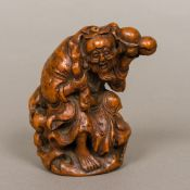 A 19th century Chinese carved bamboo figural model,