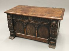 An 18th century and later oak coffer Of small proportions,