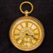 A 14 ct gold cased open faced pocket watch With florally engraved case with a vacant cartouche,