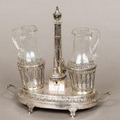 An 18th century French silver cruet stand, hallmarked Paris 1787,