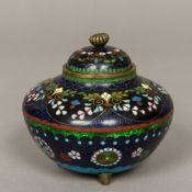 A Chinese cloisonne lidded vase Of squat circular form, standing on three squat feet,