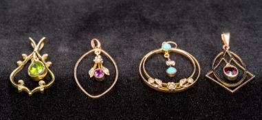 A collection of four Edwardian 9 ct gold pendants Each set with various stones, including turquoise,