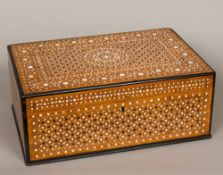 A 19th century Anglo-Indian Hoshiarpur work box Of hinged rectangular form with fitted interior,