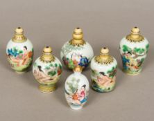 Six Chinese porcelain snuff bottles and stoppers Various sizes with erotic decoration,