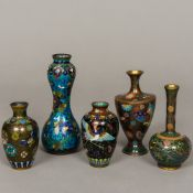 A small Chinese cloisonne vase Of double gourd form,