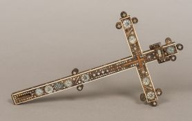 A 19th century Middle Eastern carved wooden mother-of-pearl and ivory inlaid cross With inset INRI