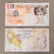 BANKSY (born 1974) British (AR) Di-Faced Tenner Off set lithographic print in colours. 14.3 x 7.