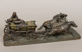 After C GURADCO (19th/20th century) Figures in a Hay Cart Patinated bronze, signed. 46.5 cm long.
