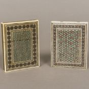 Two 19th century Anglo-Indian ivory Vizagapatam card cases Each typically decorated and with