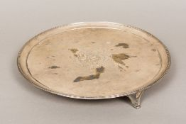 A George III silver salver, hallmarked London 1792,