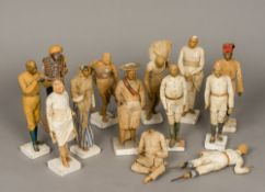 Thirteen 19th century East India Company School type clay figures Each of typical form,