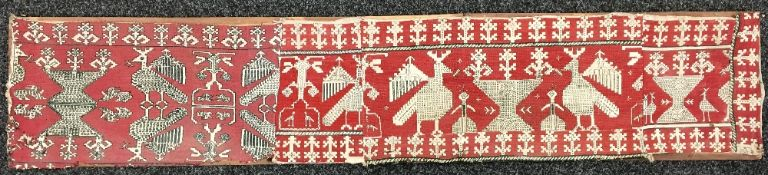 An antique tribal needle worked panel Worked with stylised figures,