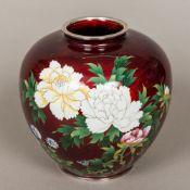 A Japanese cloisonne vase Of squat bulbous form,