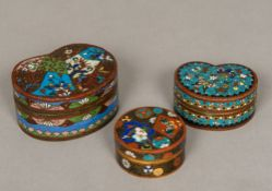 A Chinese cloisonne box Of rounded heart shaped form with removable lid,