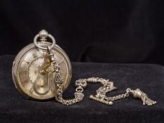 A Victorian silver open faced pocket watch, hallmarked Chester 1888,