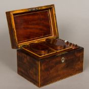 A George III line inlaid mahogany tea caddy, hallmarks indistinct,