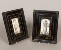 Two 18th/19th century Dieppe carved ivory panels One formed as a gentleman with a sword at his side,
