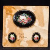 Three small 19th century Italian micro mosaics Each of oval floral form,