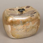 An American sterling silver biscuit barrel Of rounded rectangular form, with hinged lid,