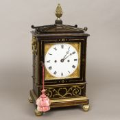A Regency brass mounted and inlaid hour repeating bracket clock by Pewsey,