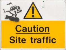 BANKSY (born 1974) British (AR) Caution Site Traffic Missile Monkey Spray painted stencil on