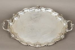An Edwardian silver tray, hallmarked London 1905, maker's mark of W & S,