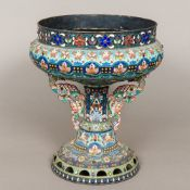 A large Russian cloisonne and cabochon stone decorated silver centrepiece The florally decorated
