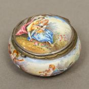 A 19th century Continental enamel decorated box Of squat rounded form,