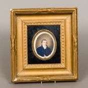 ENGLISH SCHOOL (early 19th century) Portrait miniature of a gentleman in a blue coat Watercolour