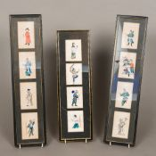 A collection to twelve 19th century Chinese rice paper paintings Each depicting a different figure,