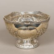An Edwardian silver rose bowl with internal grill, hallmarked Sheffield 1901,