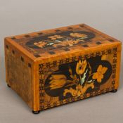 A 19th century marquetry inlaid jewellery box Of hinged rectangular form,