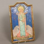 A 19th/20th century Continental painted icon Worked with the Virgin Mary and the infant Jesus,