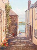 NANCY BAILEY (1913-2012) British (AR) Sitting in Sunshine, St Ives Oil on canvas, signed, framed.