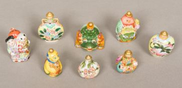 Eight Chinese porcelain snuff bottles an