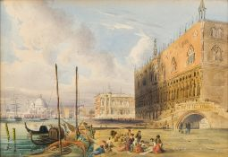ITALIAN SCHOOL (early 19th century) Figures in a View of Venice Watercolour, framed and glazed.