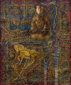LINDA RAMSAY (20th/21st century) British (AR) Granite and Clay, Shanghai Acrylic on canvas,