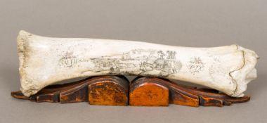A scrimshaw bone