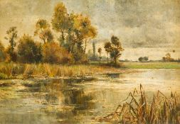Attributed to ALFRED MUNNINGS (1878-1959) British (AR) River Landscape Oil on canvas, framed.