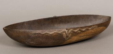 A Tami Islands wooden ceremonial food bo