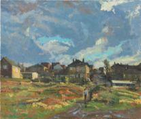 RAYMUND M ROGERS (20th/21st century) British (AR) Milton St Oil on canvas, signed, unframed.