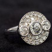 An 18 ct white gold pave set diamond rin