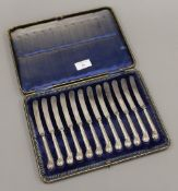 A cased set of silver handled knives